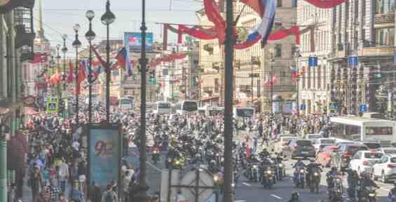 Мотоциклисты на Невском проспекте
