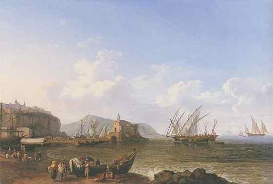 Вид с острова Липари на остров Стромболи 1778 год