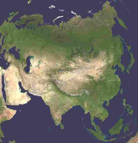 Азия. Снимок из космоса