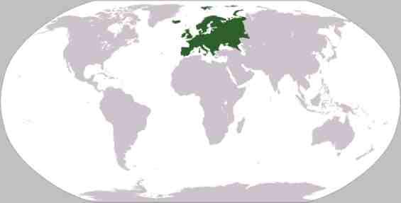 Европа на карте мира