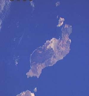 Остров Лансароте.  Вид из космоса