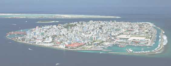 Вид с самолёта на город Мале