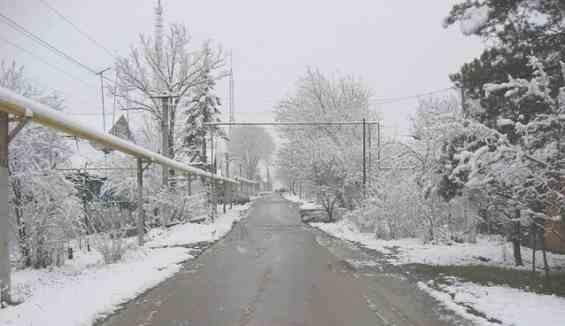 Первый снег на курорте Хадыженск